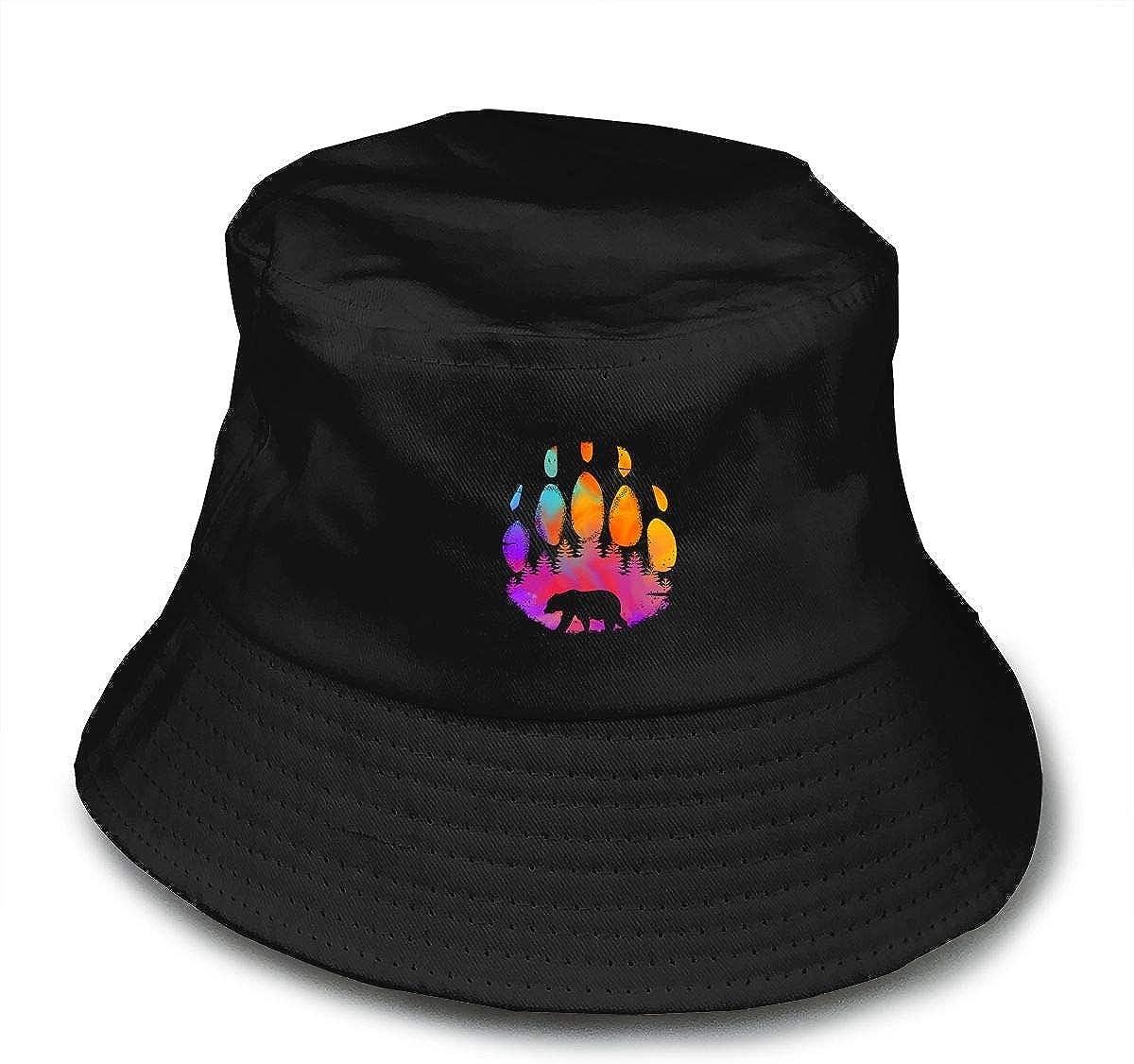 Sombreros de pescador de color negro con estampado de huellas de oso 100/% algod/ón para exteriores color negro