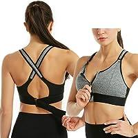 Draadloze, ondersteunende sport-bh's voor dames, Comfortabele gewatteerde trainings-bh met ritssluiting voor gym-yoga…