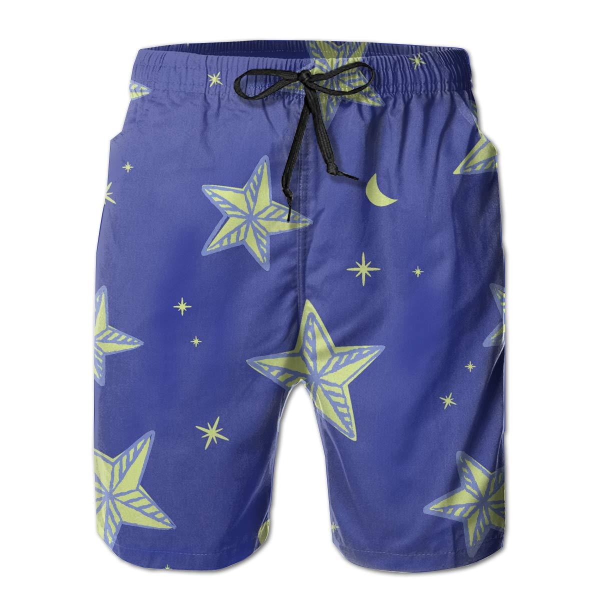 Blue Flag Star Mens Quick Dry Swim Trunks Beach Board Short Drawstring Vacation Surfing Shorts