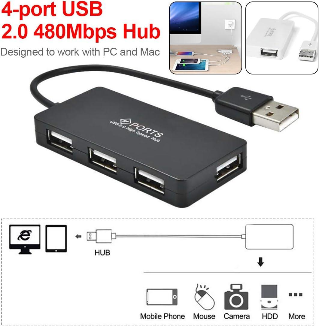 Basico Adaptateur De C/âble DExtension Ultra-Mince avec R/épartiteur Multi-Ports USB 2.0 Haute Vitesse /À 4 480 Ports 480Mbps pour Pc Portable
