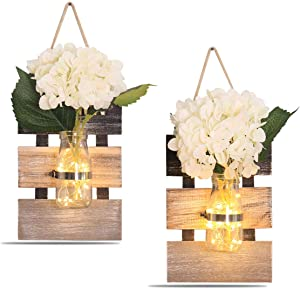 Rustic Wall Sconces , Rustic Home Decoration LED Wall Decor Living Decoration, Silk Hydrangea and Home Kitchen Decoration (Set of 2) (large (Set of 2))
