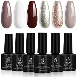 Beetles Christmas Holiday Gel Nail Polish Set - 6 Colors Burgandy Red Champagne Gold Gel Polish Kit Snow White Nude Grey Nail Gel Polish Soak Off UV LED Gel Nail Kit Vanish Manicure Home Gift Box