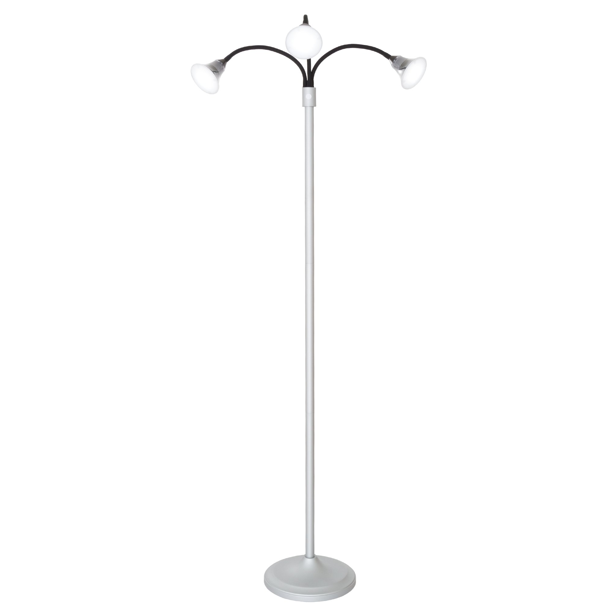 3 Head Floor Lamp, LED Light with Adjustable Arms, Touch Switch and Dimmer (Silver) by Lavish Home