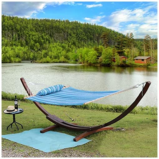 Garden and Outdoor Prime Garden Quilted Fabric Hammock with Pillow, Heavy Duty Hammock with Hardwood Spreader Bars, 2 People (Blue Navy… hammocks
