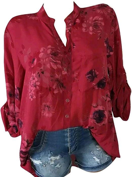 LianMengMVP Chemisier Grande Taille Femme Flowy Imprim/é Florales Shirt Mode d/écontract/é /Él/égant Blouse Casual Occasionnel/Confortable T-Shirt