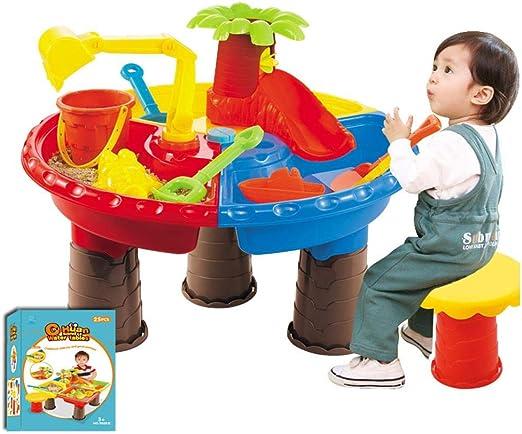 Mesa de Juego de Arena y Agua para niños, 22 Piezas Mesa de Arena con Pala, rastrillo, Cubo, Silla, Bote, moldes de Playa, Juego de excavación y más: Amazon.es: Hogar