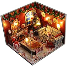 DIY House Handmade Miniature Home Decoration Wooden Furniture Christmas Theme LED Creative Holiday Time