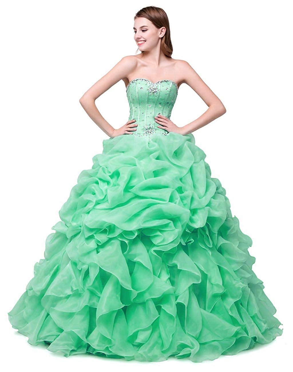 Mint Vantexi Women's Pleated Organza Formal Prom Dress Party Ball Gowns