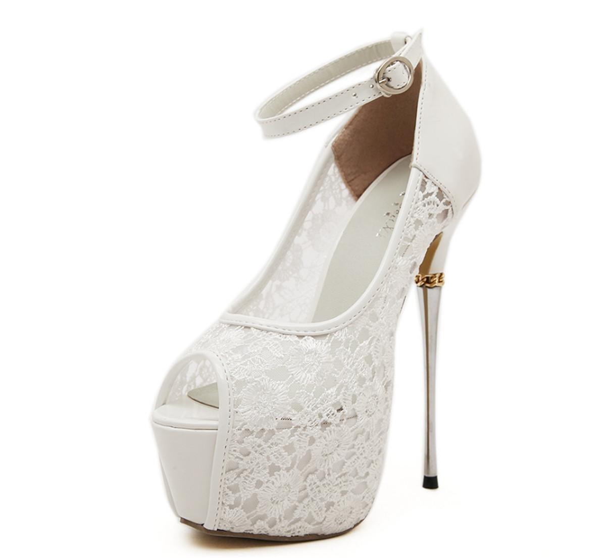 Damen Sandalen Stiletto High Heel Schuhe Knöchelriemen Peep Toe Spitze Plattform Schwarz Weiß Party Abend Prom Weiß EUR 39  UK 5