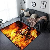 Vanfan Design Home Decorative 80081197 In to the fire a Firefighter searches for possible survivors Modern Non-Slip Doormats Carpet for Living Dining Room Bedroom Hallway Office Easy Clean Footcloth