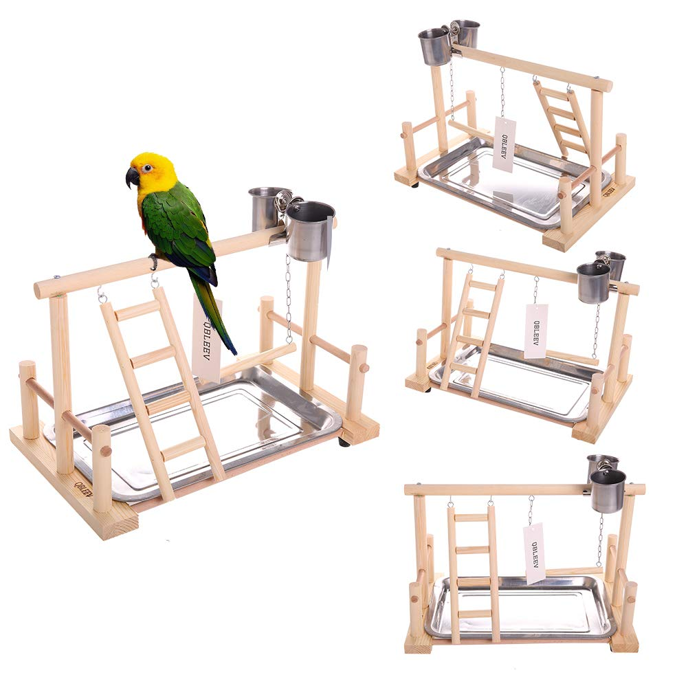 (Bird Stand(14.4  L 9  W 9.7  H)) QBLEEV Parreds Playstand Bird Playground Wood Perch Gym Stand Playpen Ladder with Toys Exercise Playgym