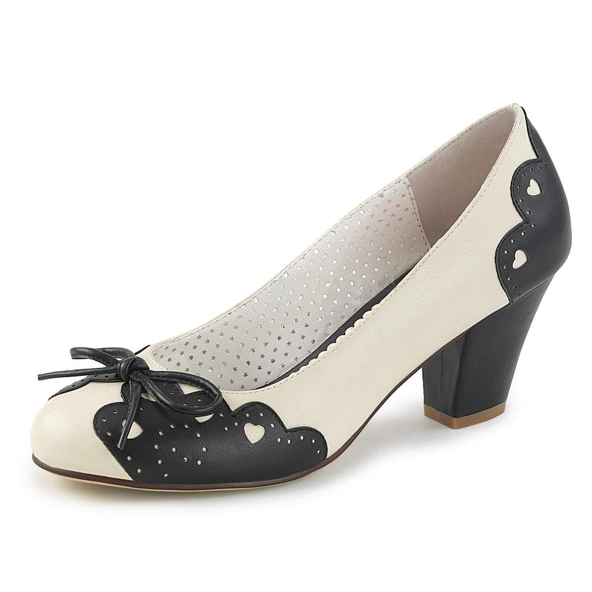 Pinup Couture Damen Pumps mit Herzchen Wiggle-17 schwarz Creme