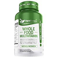 Whole Food Multivitamin for Women & Men with 62 Superfoods From Whole food Markets Real Raw Veggies, Fruits, Probiotic Digestive Enzymes Vitamin E, A, B Complex Ginkgo Bilboba Cinnamon - Vegan Non-GMO