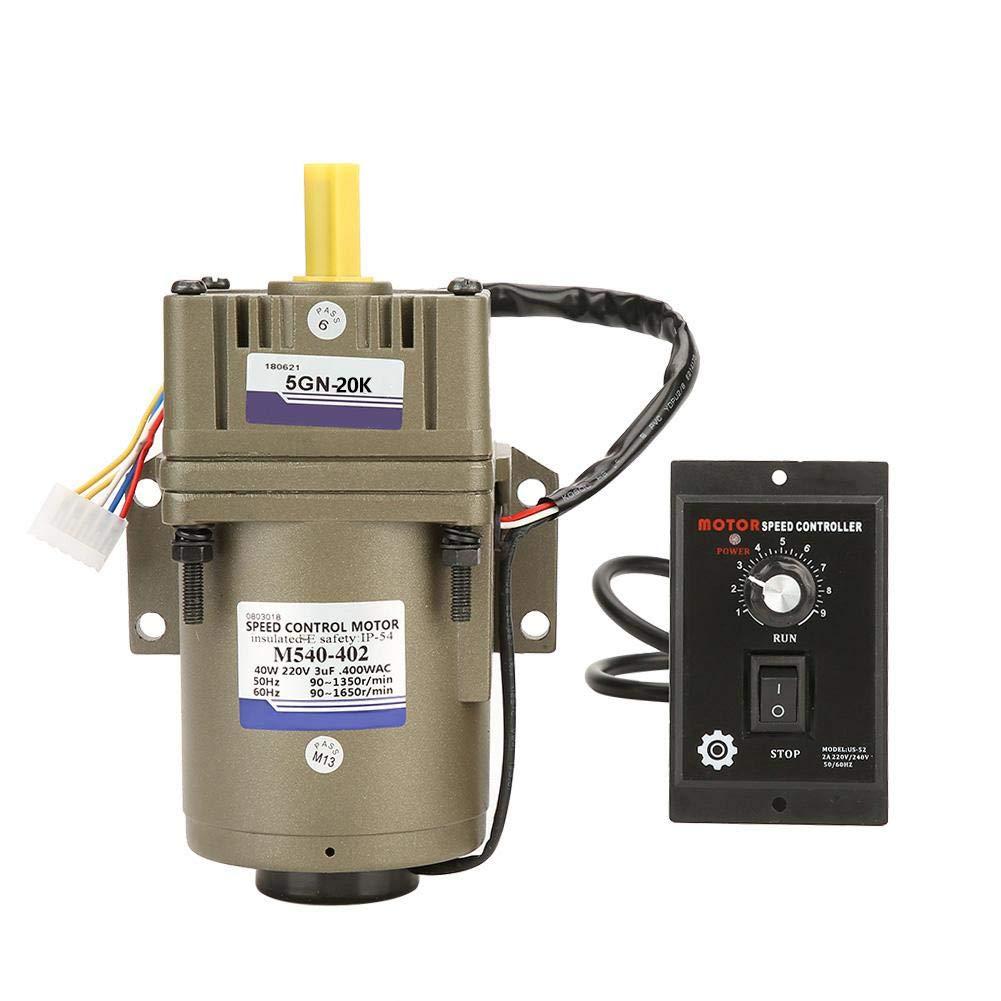 M540-402 AC 220V 40W Motore Asincrono Monofase,Motoriduttore Monofase,4 poli,Velocità Reversibile e Regolabile,Piccola Vibrazione,Basso Rumore(20K)