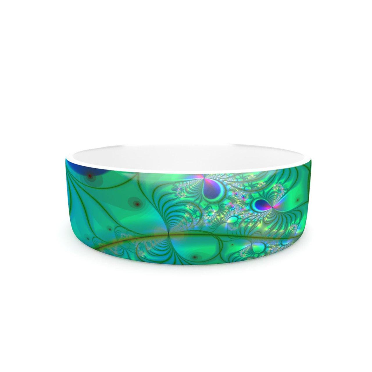 Kess InHouse Alison Coxon Fractal Turquoise  Pet Bowl, 7-Inch