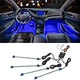 LEDGlow 4pc Blue LED Interior Footwell Underdash Neon Lighting Kit for Cars & Trucks - 7 Unique Patterns - Music Mode - 8 Bri