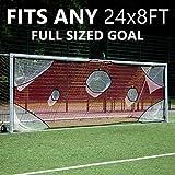 QUICKPLAY Pro Objetivo de fútbol Net | con 7 Zonas de puntuación | Disparos de práctica de fútbol | con 7 Zonas de puntuación | Disparos de práctica de fútbol (7.3 x 2.4m / 24x8')