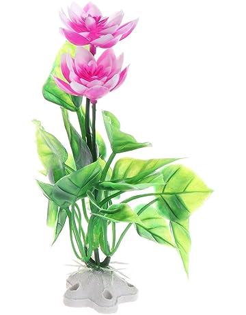 CADANIA Simulación Lotus Plantas Acuáticas Artificiales Acuario de Peces Ornamentos de Acuario Flor CT59