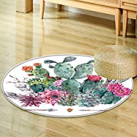 Anti-Skid Area Rugexotic natural vintage watercolor bouquet in boho style cactus succulent flowerSoft Area Rugs-Round 35
