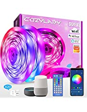 15M Cozylady Alexa LED Strip Lights 50FT - Smart LED Light Strips Compatible with Alexa, Google Home Controlled by APP - Music Sync LED Lights Strip for Bedroom Decor, Room Decor, Children's Room