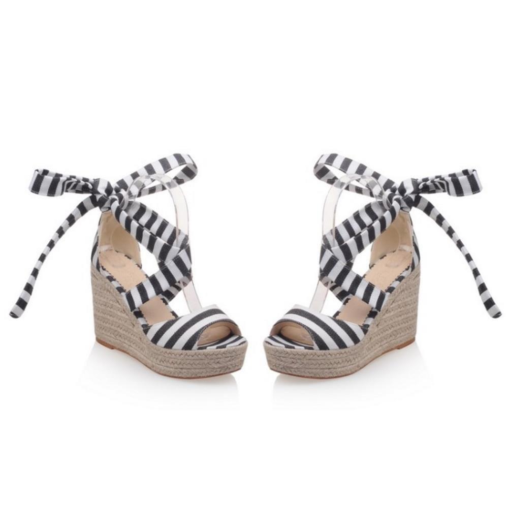 KemeKiss Women Striped Ankle Strap Open Toe Platform Wedge Sandals B072C9BX5W 6 B(M)US = 23.5 CM|Black