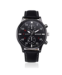 Mens Quartz Watch,Ulanda-EU Unique Retro Analog Business Casual Fashion Wristwatch,Clearance Cheap Watches with Round Dial Case,Comfortable PU Leather Band zm2 (Black)