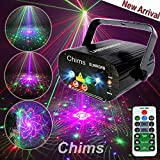 Chims DJ Laser Lights Projector Red Green Blue Laser with LED 96 Patterns RGRB Color Decoration Lighting System for Family Party DJ Disco Music Show Bar Club Stage Xmas (4 Lens RGRB 96 Patterns)