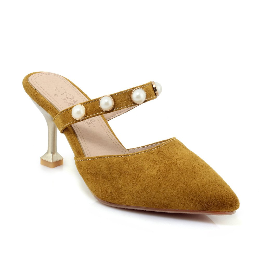 Damen Sandalen Spitzen Flachen Flachen Flachen Mund Fein mit Mode Wild Flip Flop Gelb 35 6d4307