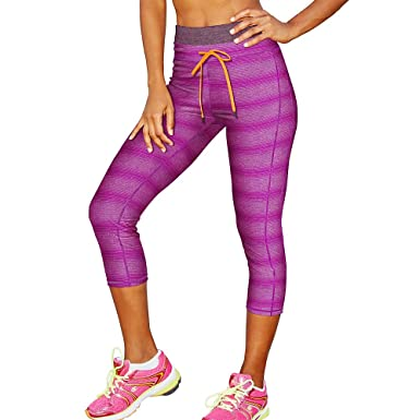 Champion 78715599034 M9524P PowerFlex Womens Print Capris, Raspberry  Shock Yarn Dye Stripe &