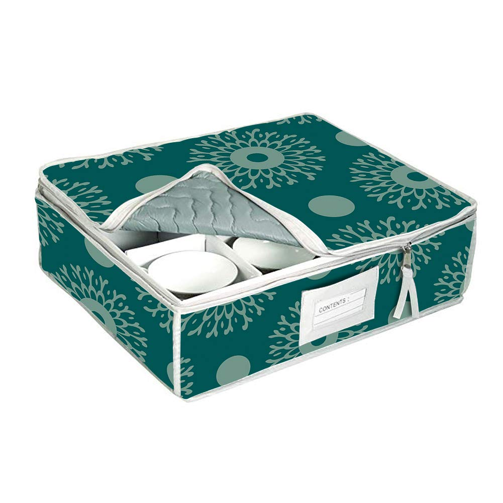China Cup Storage Containers,Coffee Cup Storage Chest Bins,Holds 12 Stemware Dishes,Coffee//Tea Mug Cups,Stemware Storage Cases With Contents Label Window Blue With Flower Print