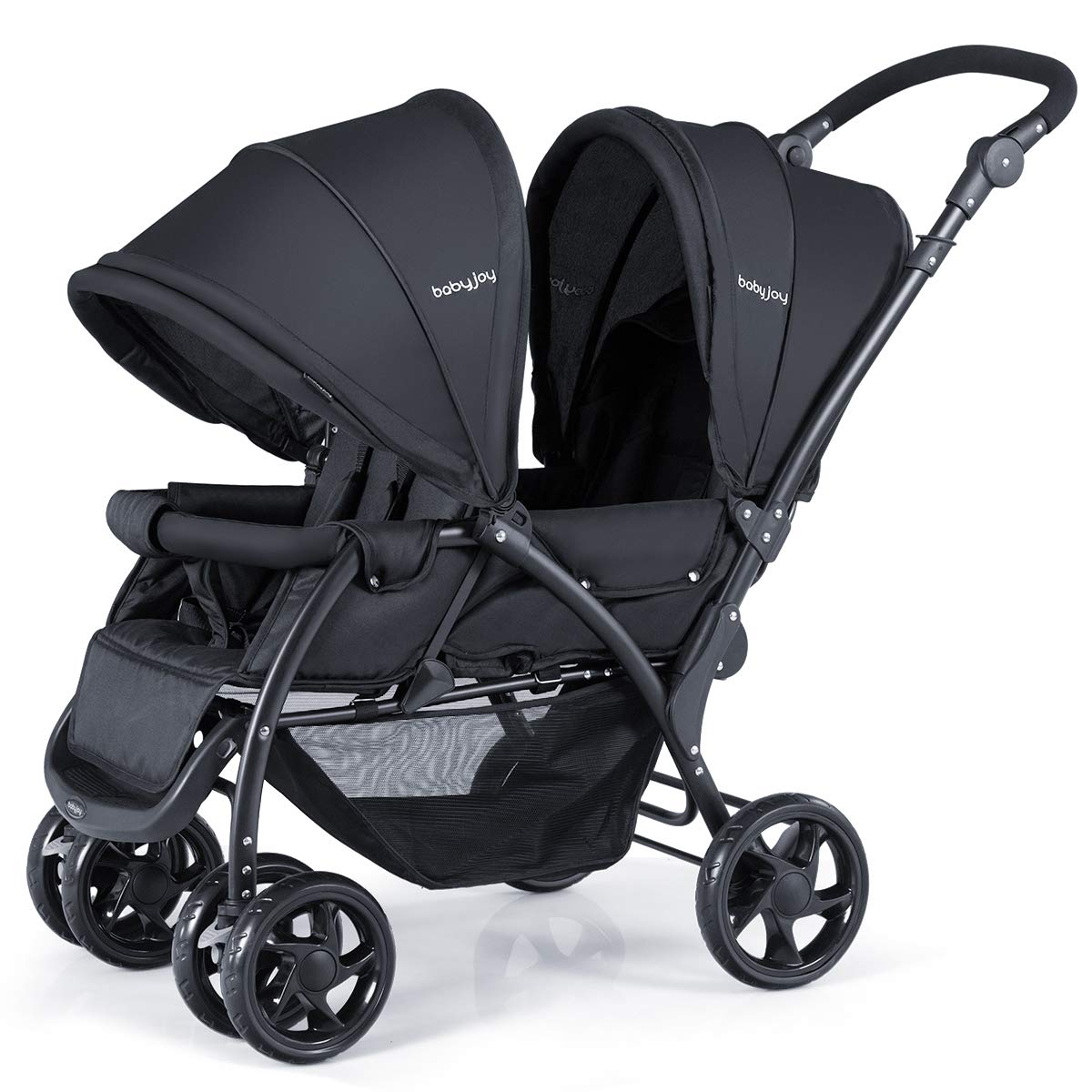 BABY JOY Foldable Double Seat Baby Stroller, Heavy Duty Construction Frame for Safety, Adjustable Backrest, Push Handle and Footrest, Safety Wheels, 5 Points Safety Belts (Black)