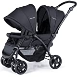 BABY JOY Double Baby Stroller, Foldable Double Seat Tandem Stroller with Adjustable Backrest, Push Handle and Footrest, Locka