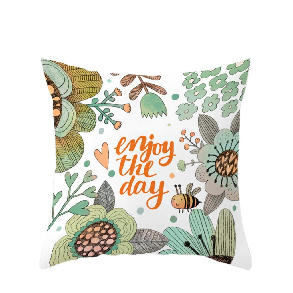 LIEJIE 18x18Inches Colorful Cotton Linen Throw Pillow Cover Natural Linen Look Fabric Stylish Home Car Bed Sofa Decorative