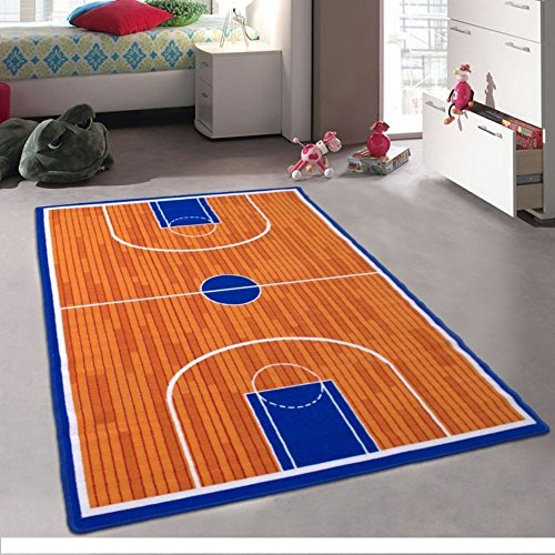 (iSavings Kids/Baby Room/Daycare/Classroom/Playroom Area Rug. Basketball Court. Sports. Fun. Non-Slip Gel Back (8 Feet X 10 Feet))