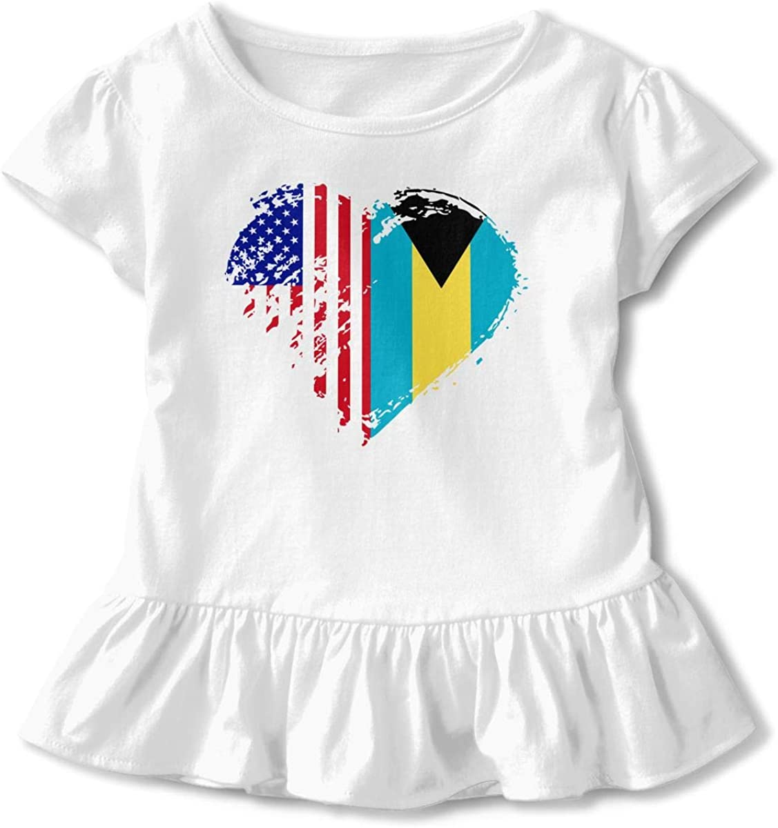 26NSHIRT Grungy Bahamas American Flag Heart Little Girls Short Sleeve Cotton Tee