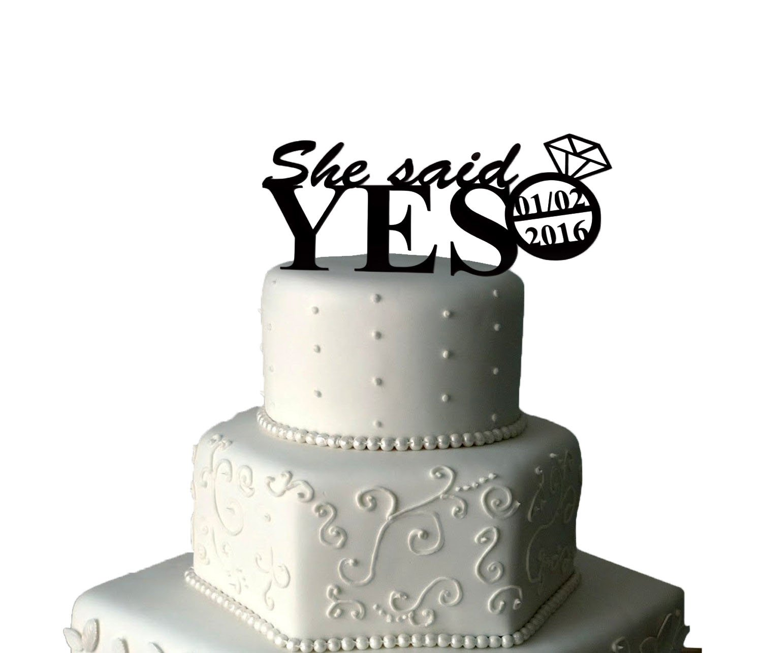 Engagement Cake Topper | She Said Yes Cake Topper | Date Cake Topper ...