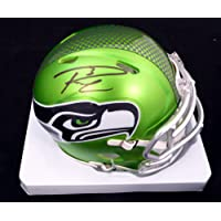$299 » Russell Wilson Autographed Seattle Seahawks Blaze Green Speed Mini Helmet RW Holo