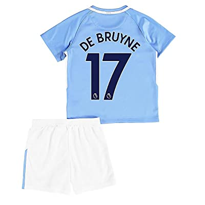 2017/2018 Manchester City DE Bruyne #17 Kids/Youths Home Soccer Jersey Shorts