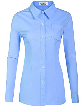 POGT Women s Long Sleeve Button Down Shirts Women Slim Fit Casual ... 2ce6ae6d57