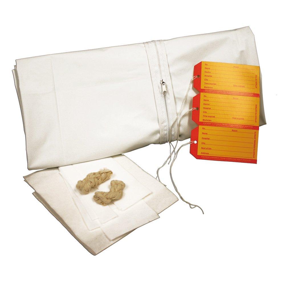 PDC Healthcare 55701-00-MBC 5 mil Vinyl Straight Zipper Adult Cadaver Bag Kit, 36'' x 90'' Size, White (Case of 10)