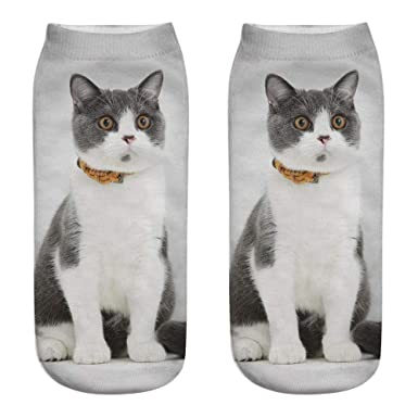 Kinlene Unisex Divertido 3D Moda Gato Impreso Casual Calcetines Calcetines de tobillo de corte bajo lindos: Amazon.es: Ropa y accesorios