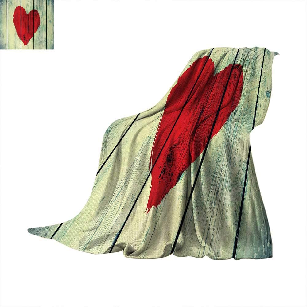 Anhuthree Love Super Soft Lightweight Blanket Heart Symbol Painted on Rustic Wood Wall Romance Affection Valentines Themed Print Summer Quilt Comforter 62''x60'' Red Pale Green