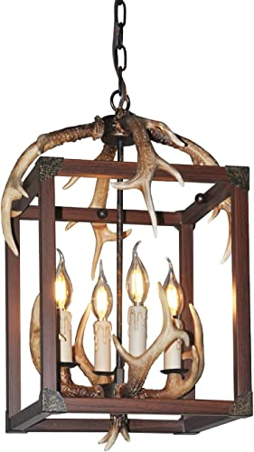 Antler Chandelier 4 Light Deer Horn Pendant Light 17 W x 20.8 Tall 3001C-4