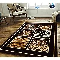 Safari Animal Skin Design Area Rug, Wild Tiger Leopard Zebra Stripes Giraffe Pattern, Rectangle Indoor Living Area Hallway Adults Bedroom Carpet, Rustic African Themed, Black, Cream, Size 52 x 72