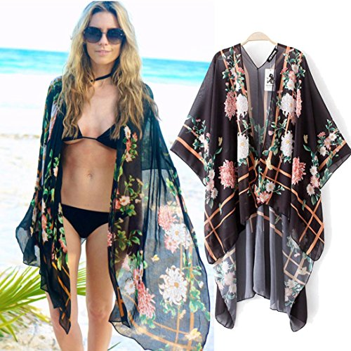 WensLTD Women Floral Print Chiffon Loose Shawl Kimono Cardigan Top Cover up Shirt Blouse (S, Black)