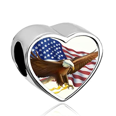 cac681cbf Image Unavailable. Image not available for. Color: CharmSStory USA Flag  Design Eagle Post Heart Photo Charm Independence Day Beads ...