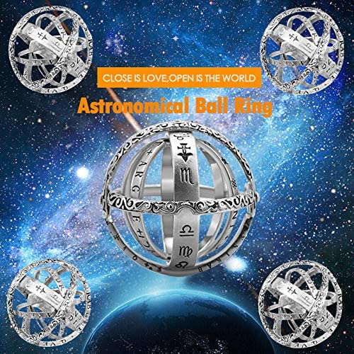 QingZhou 16th Century Ring,Unfolds Into Astronomical Sphere Ring,Faded Effect Retro Ring Cool Science /& Art Handmade Ring