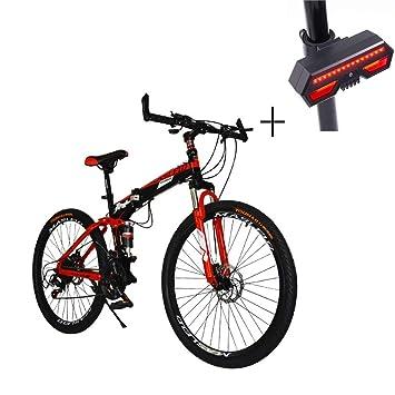 Huoduoduo Bicicleta De Bicicletas De Montaña De 26 Pulgadas De Velocidad Variable Plegable Y El Marco