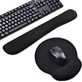 Muñeca del Teclado Mouse Pad WEINAS® Cojín de Ratón con Reposamuñecas - Negro (Alfombrillas para teclados y ratones)