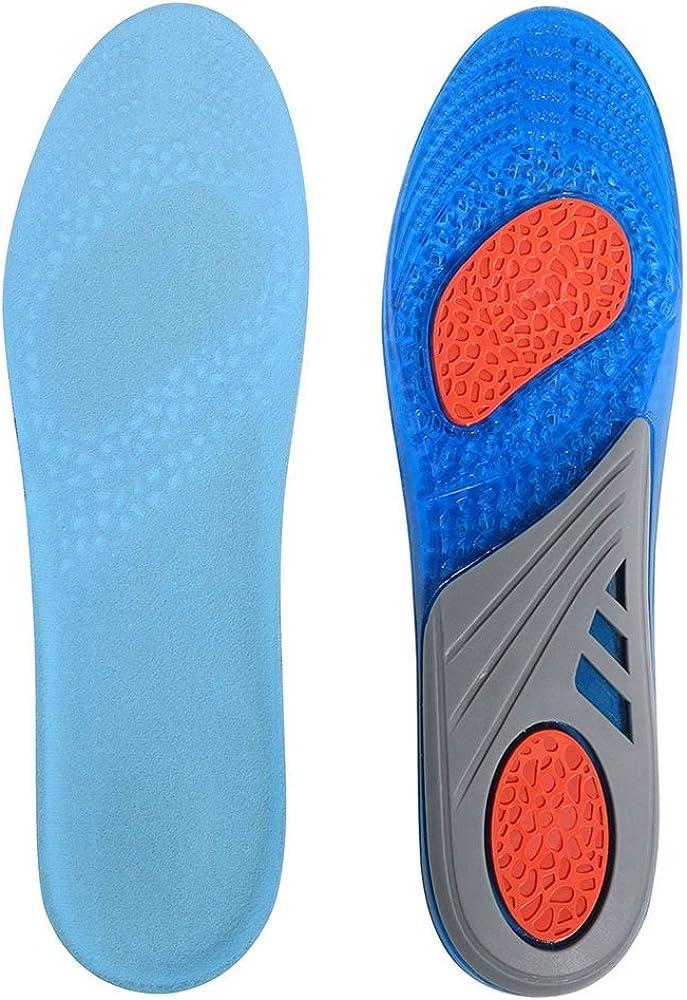 LifeBee Plantillas GEL Sports Orthotic, insertos de suelas de gel de longitud completa para la absorción de impactos, protección del talón y soporte para el pie, aliviar el dolor en el pie y la